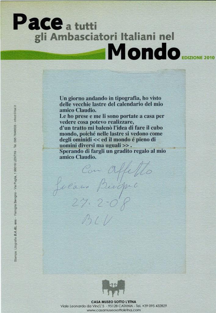 PACE A TUTTI GLI AMBASCIATORI ITALIANI NEL MONDO EDIZIONE 2010