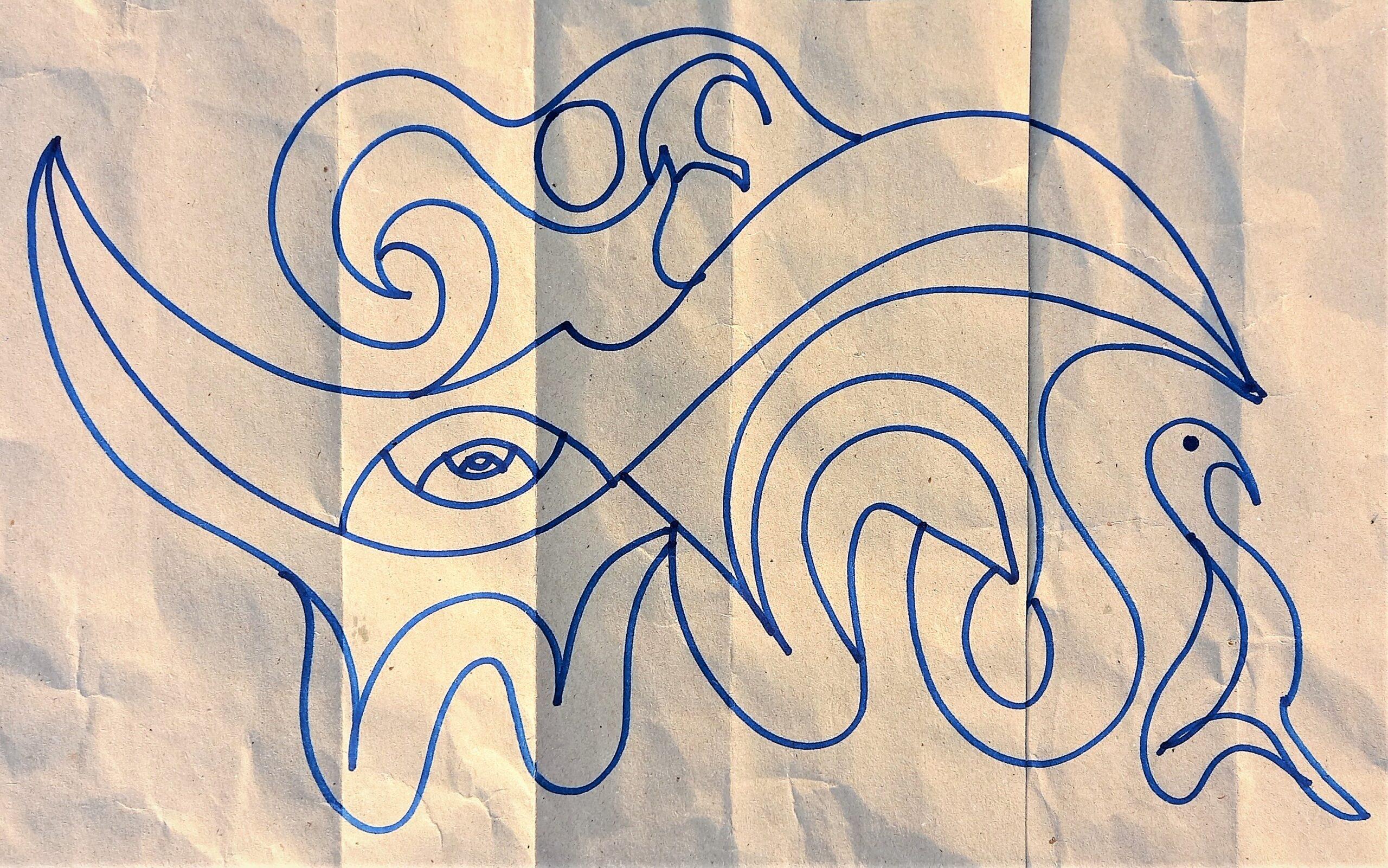 Viola, piccola luce custode. Carta Riciclata e Spirito 60/32 cm.